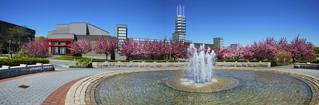 Stony Brook, NY; Stony Brook University: Wang Center in spring